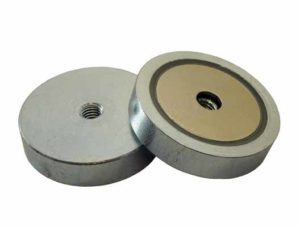 Base Magnetica Baja Iman disco Agujero pasante roscado Neodimio Hasta 80ºC
