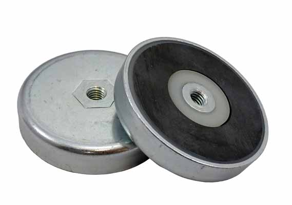Base Magnetica Baja Iman disco ceramico Agujero pasante Roscado Ferrita Hasta 200ºC