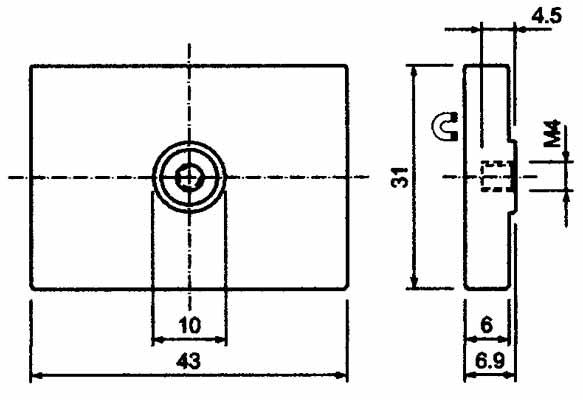 Base Magnetica Caucho Doble Agujero Ciego Roscado Rectangular Hasta 60ºC